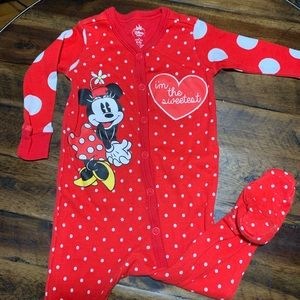 Minnie Mouse polka dot footies